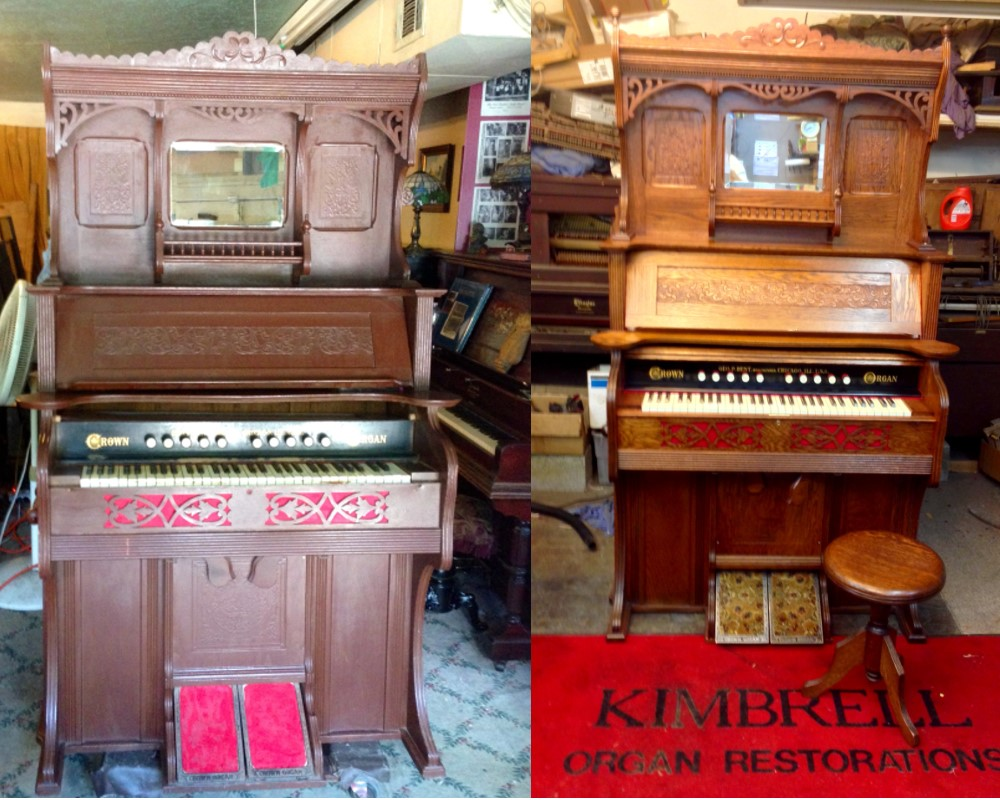 Before and After organ painted brown