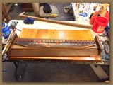 restored soundboard with pegs , couplers, mutes and swells
